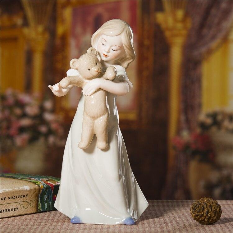 Menina e Teddy Acessórios para Presente de Aniversário e Decoração do Quarto Porcelana Bear Estatueta Cerâmica Boneca Artesanato Ornamento