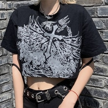 Gothic Style Crop Top Harajuku Graphic T Shirt for Women Ulzzang Korean Tshirt Summer Tee Croptop Go