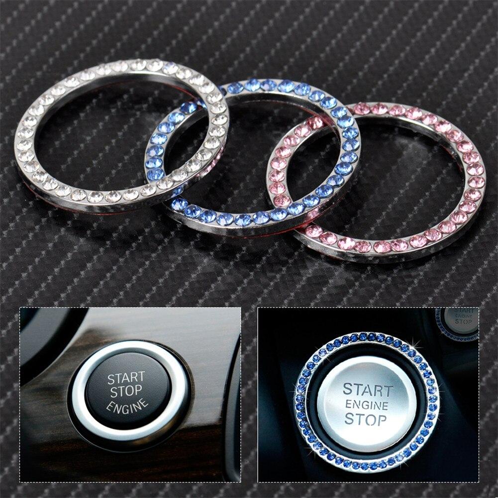 Автомобильные однокнопочные кнопки запуска и остановки двигателя, кнопки зажигания, декоративные стразы, Алмазное кристаллическое кольцо,...