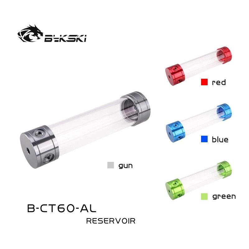 Bykski B-CT60-AL ، 60 مللي متر خزان اسطوانة ، غطاء سبائك الألومنيوم الاكريليك الجسم ، 60 مللي متر قطرها 100/150/200/260 مللي متر طول