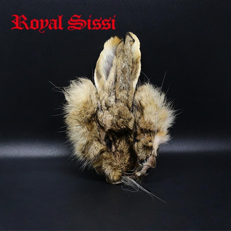 Royal Sissi 2 pièces masques de lièvre prograde oreille de lièvre nymphe doublage fourrure & poils avec poils de garde plus rigides