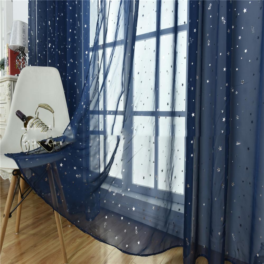 Fresh Hot Silver Star Window Screen Flocking Window Screen BlingBling Curtain