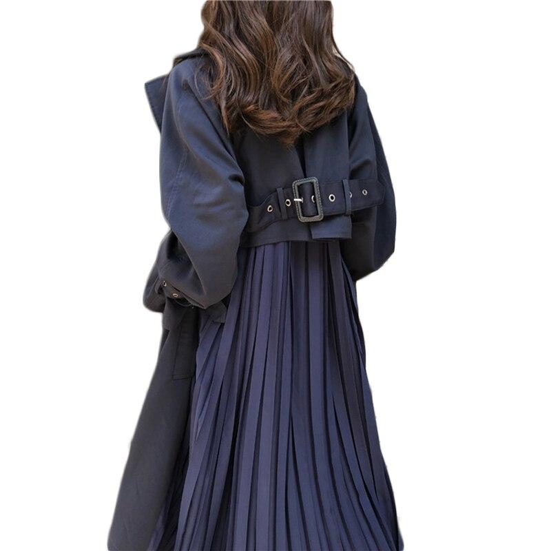 Fosa larga para mujer de 12h con muchas manchas, abrigo plisado de empalme de gasa 2020, elegante gabardina holgada de primavera para mujer de gran tamaño