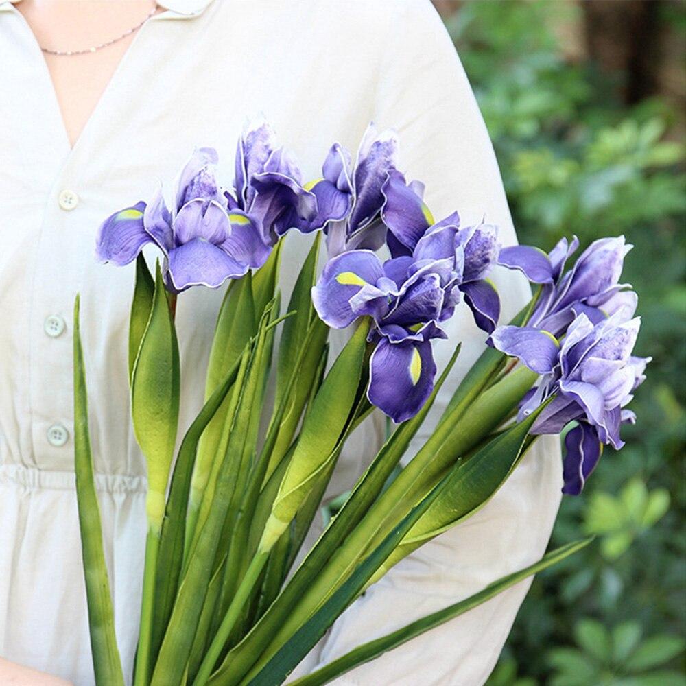 3 uds Iris Artificial flores de seda artificiales planta rama ramo flores cena para casa de decoración para fiesta de boda