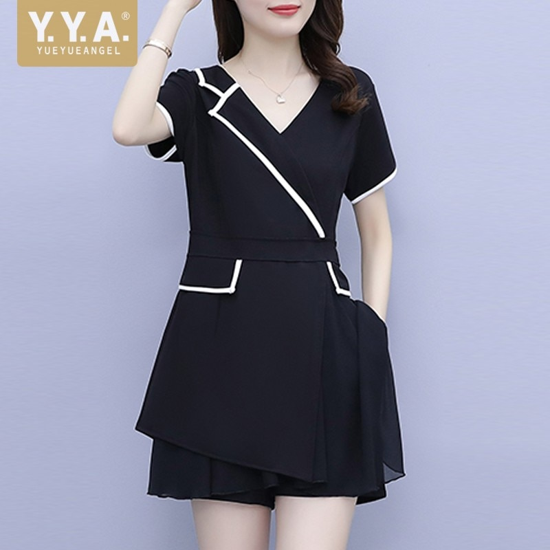 Summer Women Fashion Chiffon Top T-shirts Shorts Two Piece Set Patchwork Elegant Lady Office Work Slim Fit Outfits Matching Sets