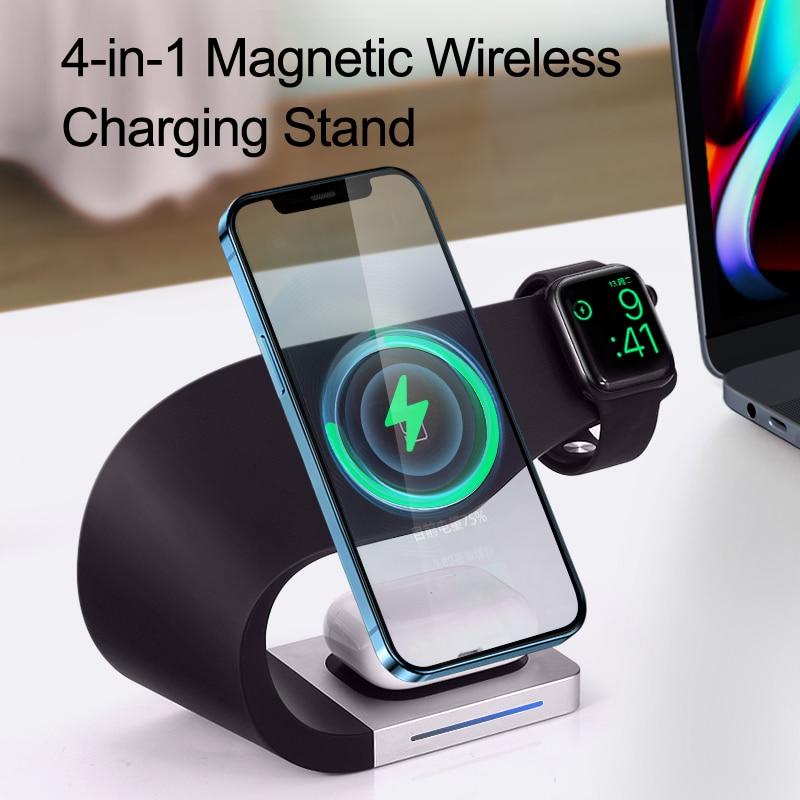 Magneti 15W Qi bezprzewodowa ładowarka stojak dla IPhone13 12 Pro XSMAX Samsung S21 S20 S10 S9 szybkie ładowanie stacja dokująca ładowarki do telefonów