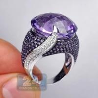 elegant large round purple zircon crystal stone rings for women female purple rhinestone bridal wedding ring jewelry d5m801