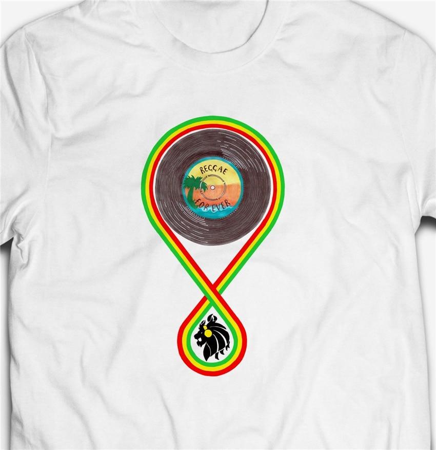 Retro Reggae música Forever Jamaica Dub 100% algodón hombres Rasta Camiseta Tee cuello redondo Camiseta