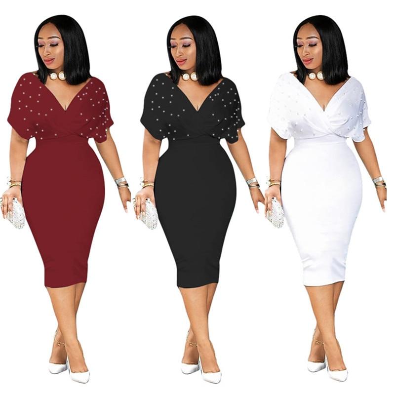 Vestidos ajustados de verano 2020 para mujer cuello en V con cuentas trabajo de dama Elegante ropa de oficina Bodycon de talla grande 3XL Elegante ropa Modest Femme