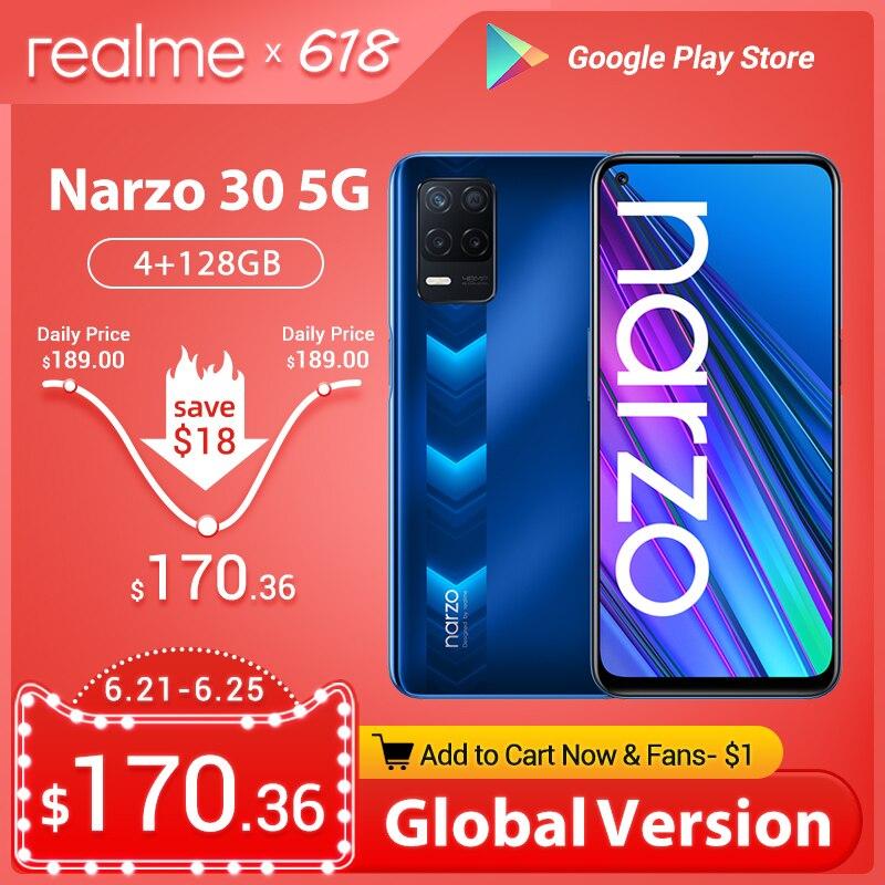 Перейти на Алиэкспресс и купить Предварительная продажа мировая премьера realme Narzo 30 5G глобальная версия 4 Гб 128 NFC Dimensity 700 48MP тройной Камера 5000 мА/ч, 90 Гц Дисплей