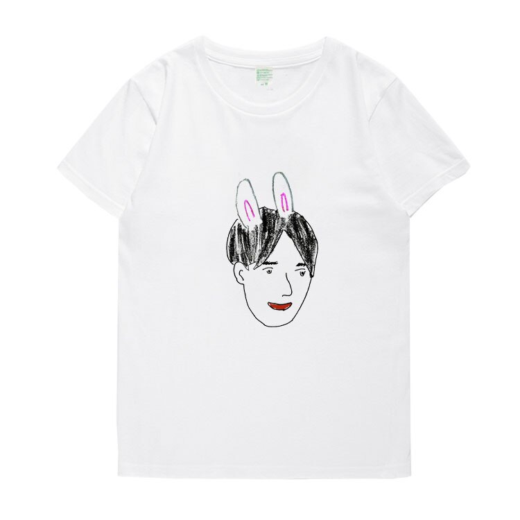 Recién llegado, exo suho, retrato propio, Impresión de cuello redondo, camiseta de manga corta para verano, camiseta unisex de moda kpop