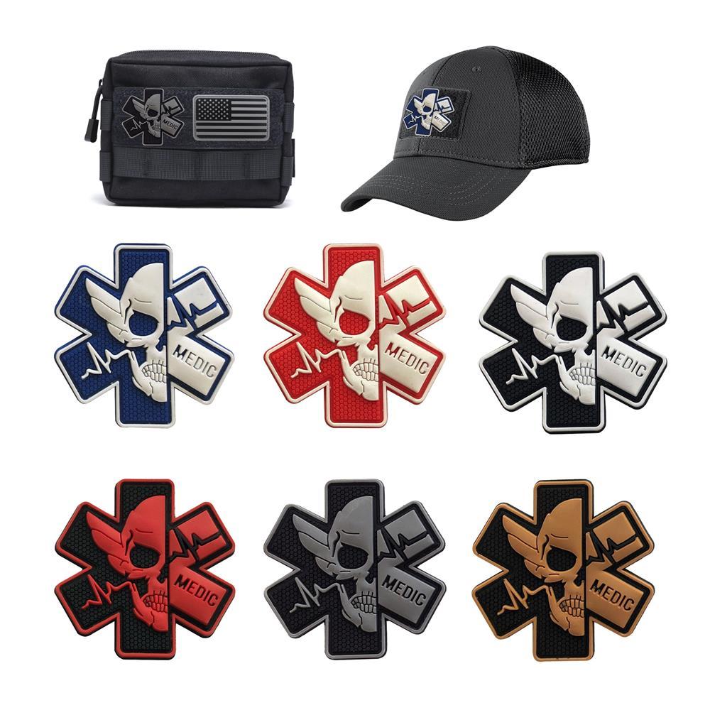 Череп ПВХ патч эмблема значок медик команда первой помощи военные крылья с крючком для одежды BackpackTactical Morale Patches