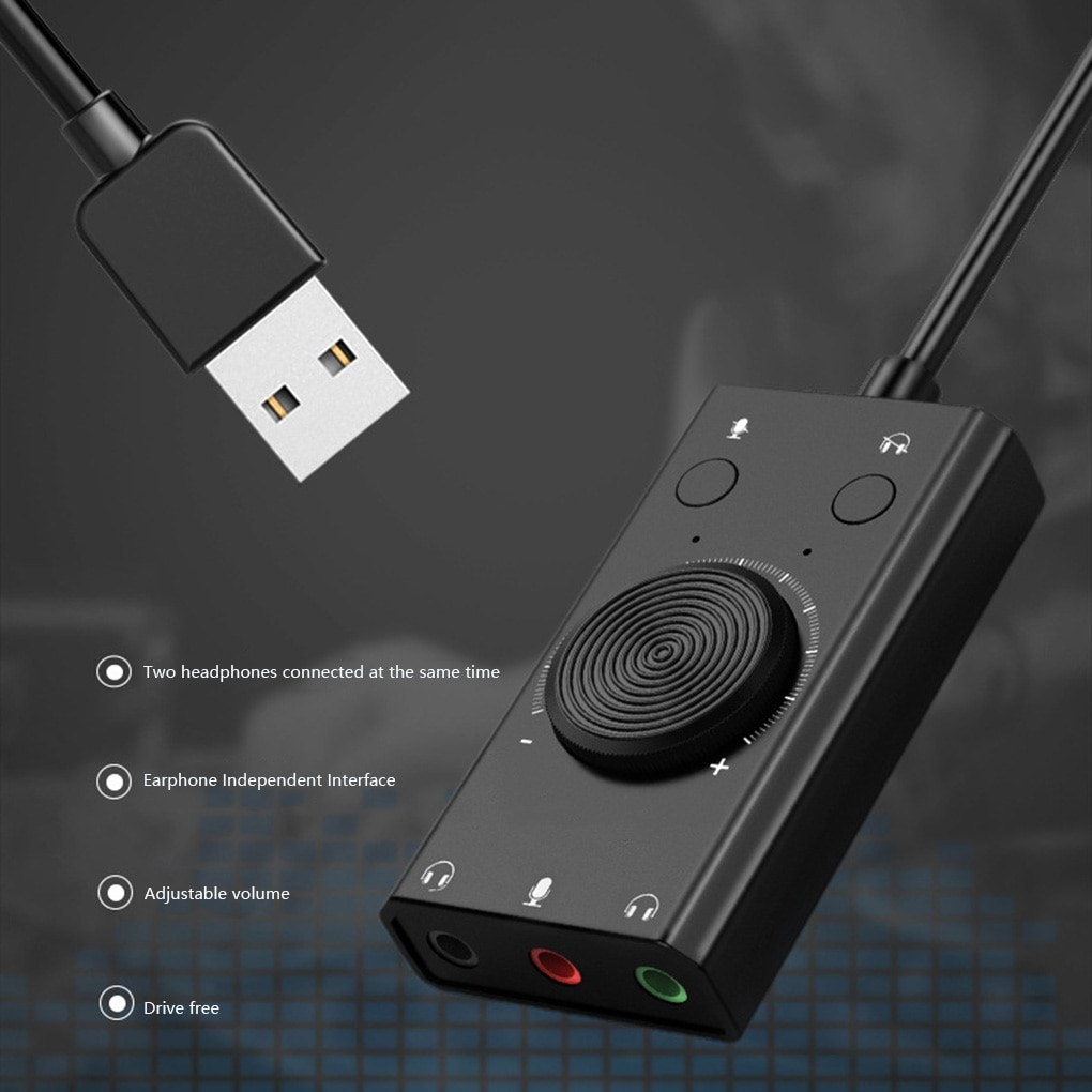 Portable USB External Sound Card Microphone Earphone Two-in-One With 3-Port Output Laptop PC Computer Adapter
