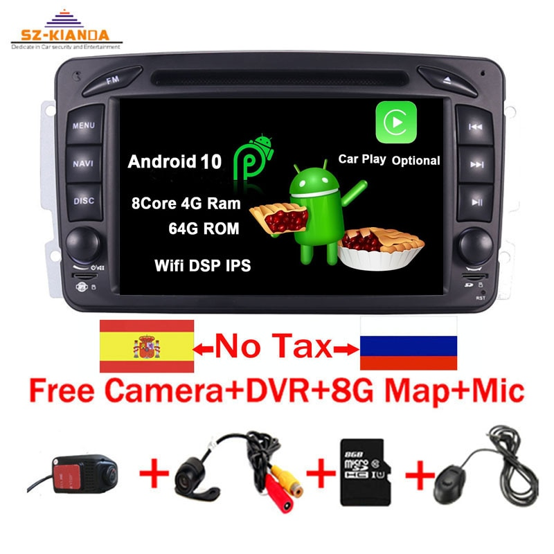 Lecteur DVD de voiture 7 pouces Android 10.0   Pour Mercedes Benz CLK W209 W203 W463 W208 Wifi 3G GPS, Bluetooth, Radio, stéréo media, en Stock