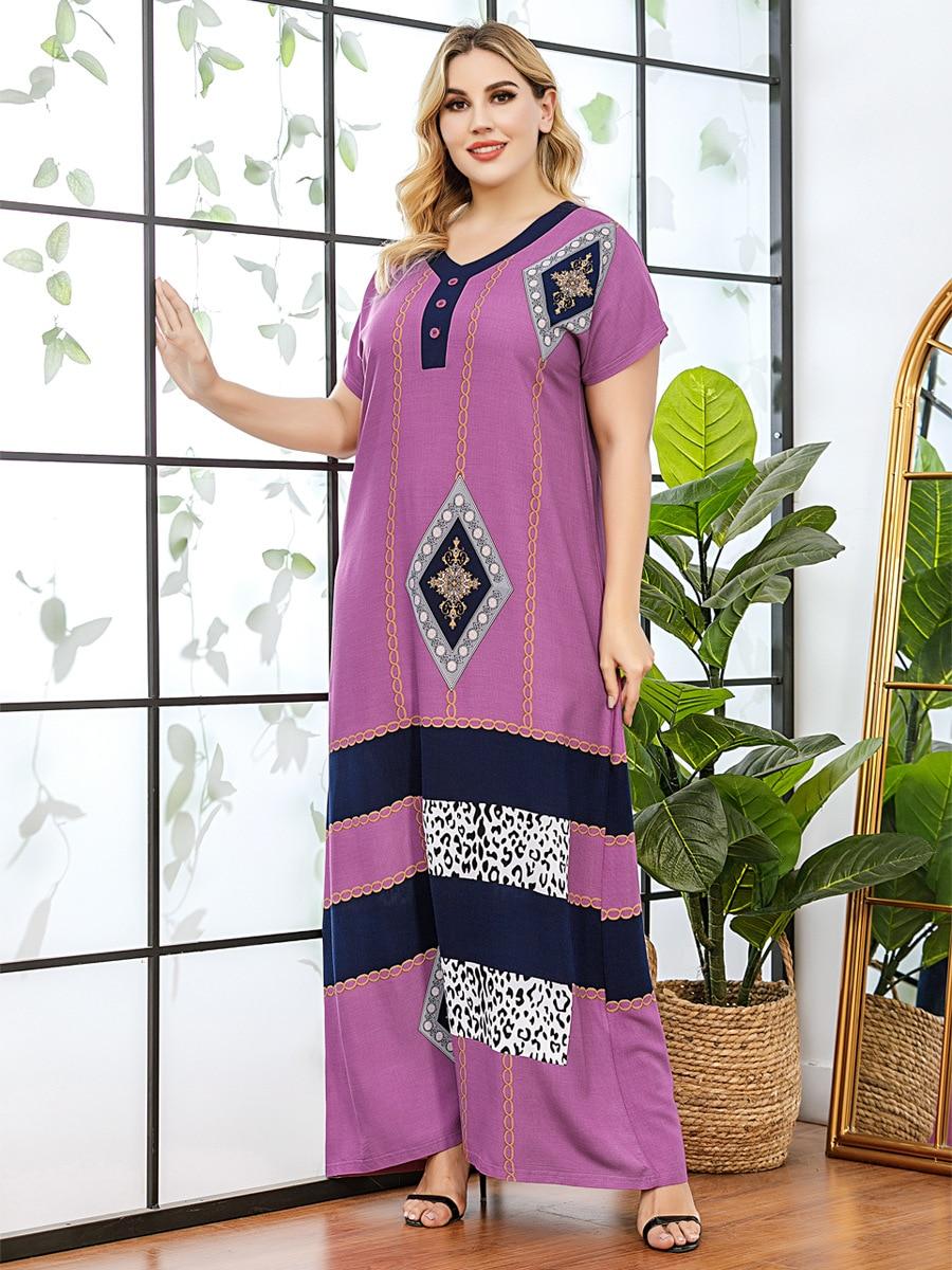 Abaya Dress India Muslim Print Elegant Women Maxi Long Vestidos Gown Dubai Islamic Party Moroccan Kaftan Turkish Femme Women