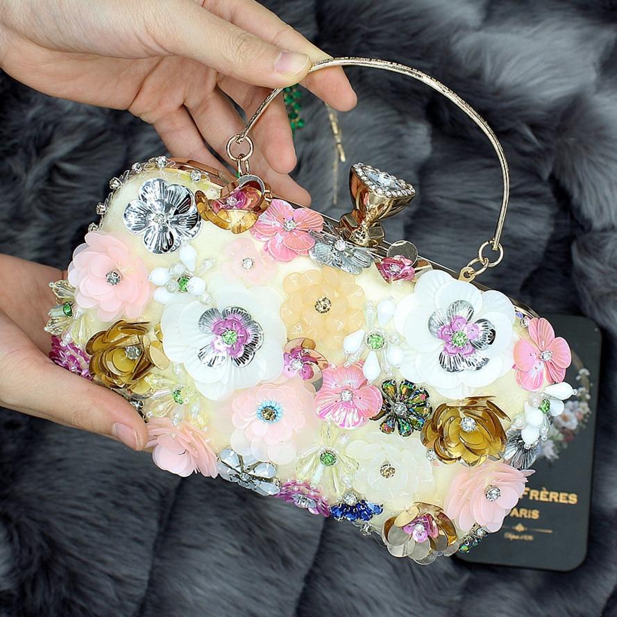 Bolso de noche de flores para Mujer, bolsa de mano con cuentas...