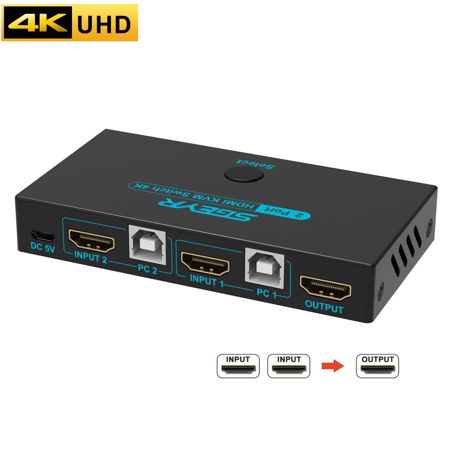 4K 2 Port KVM Switch HDMI USB 2.0 KVM Switcher with 2 Computers Sharing One Set of Keyboard,Mouse,Monitor