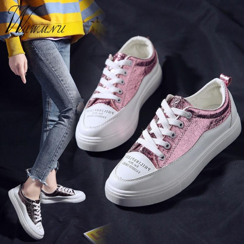 Harajuku-Zapatillas deportivas con cordones para Mujer, zapatos informales blancos ostentosos para primavera...