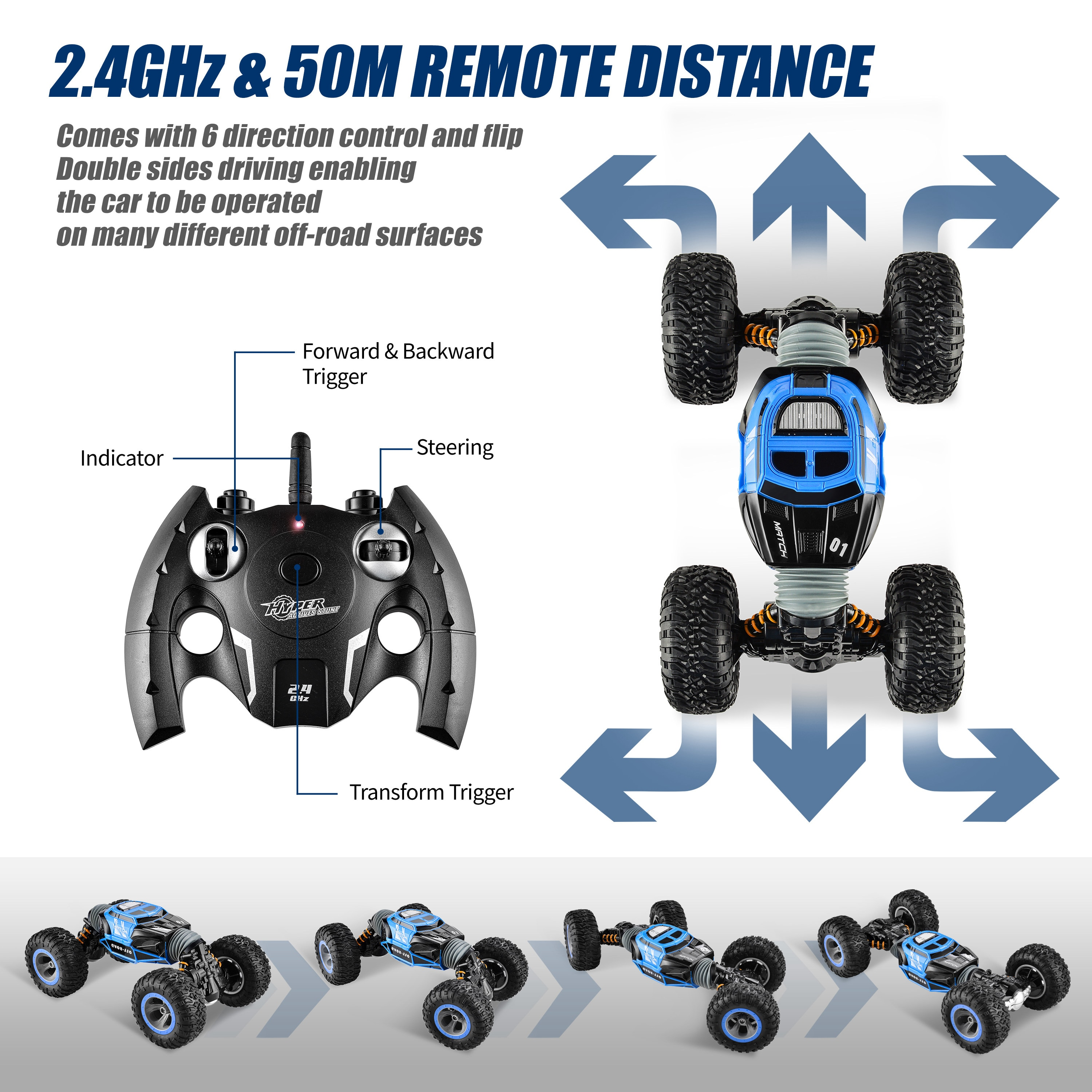 BEZGAR TD141 Remote Control Crawler,1:14 All-Terrain 2.4GHz 15Km/h Transform 4WD RC Stunt Car Truck Toy with Battery for kids enlarge