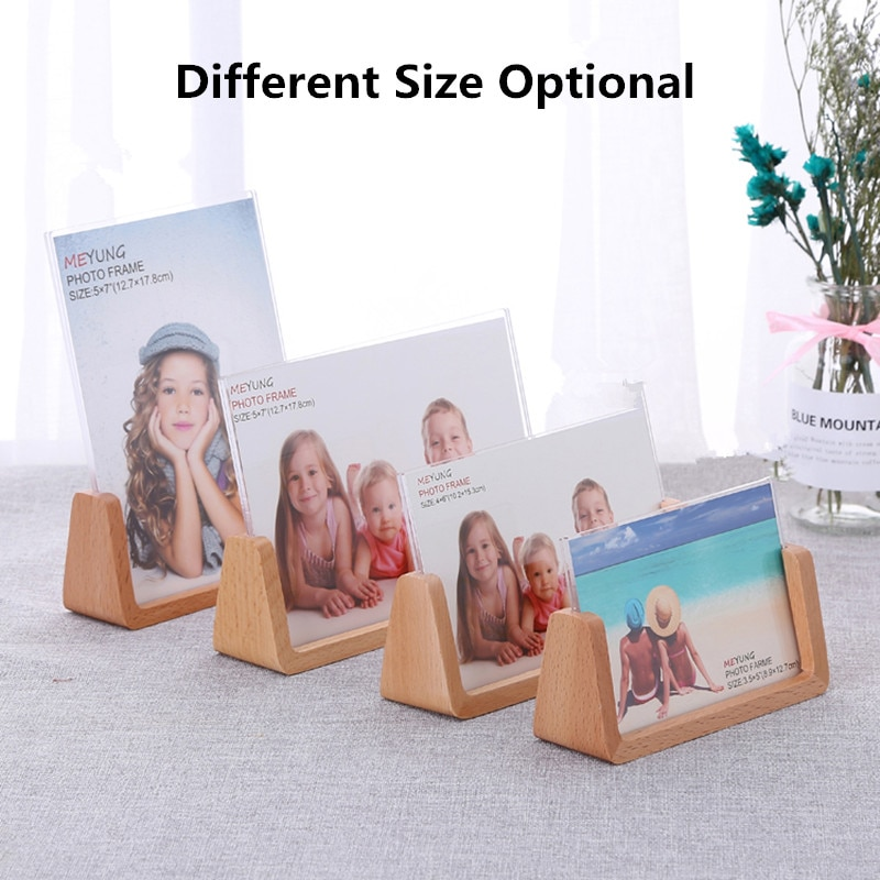 manual plastic turntable 20cm 8 inch rotating base acrylic transparent photo frame display stand three dimension accessories 6 Inch Landscape Wood Base Acrylic Menu Desktop Counter Poster Holder Sign Display Stand Photo Picture Frame