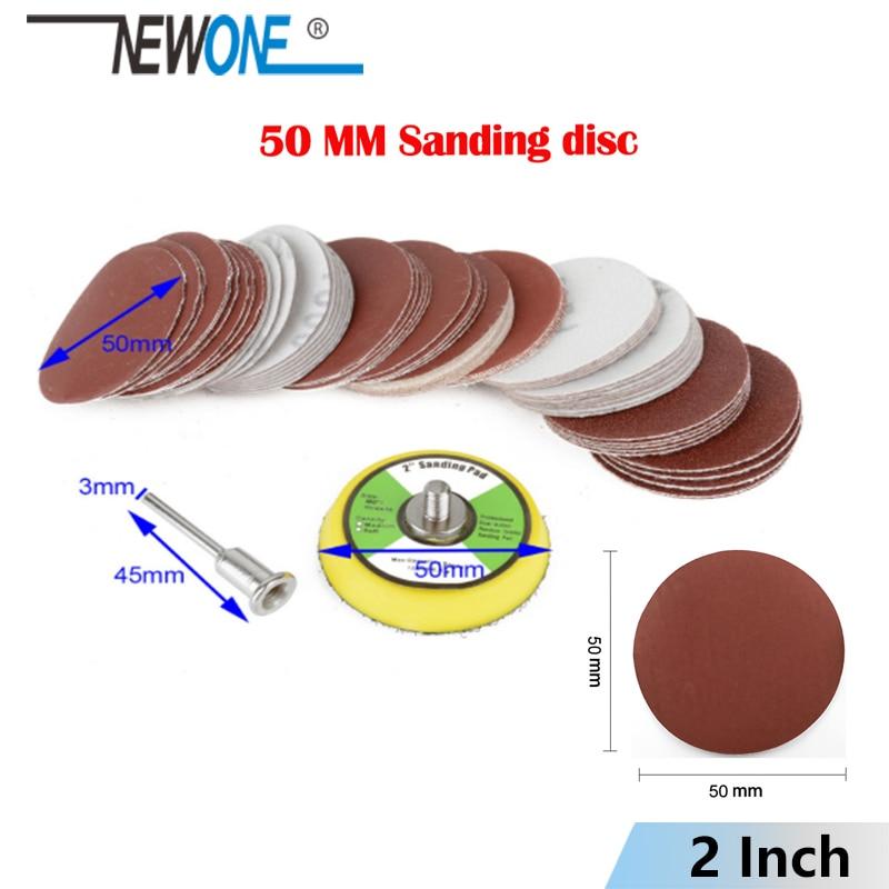 "NEWONE 100 unids/set 50mm 2 ""/2 pulgadas papel de lija abrasivo mixto disco de lija disco de arenilla 80/100/180/240/600 herramienta giratoria lijadora de velcro"