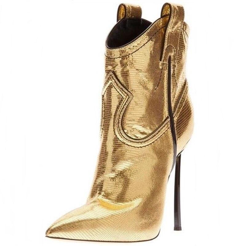 الذهبي السحلية نمط خنجر كعب الأحذية مدبب تو شفرة الكعوب سستة الكاحل Bootie مثير شعبية فستان الحفلات الأحذية