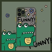 iphone case suitable for apple 12promax mobile phone shell cartoon dinosaur and crocodile iphone11 skin feel shell 678plusxsmax