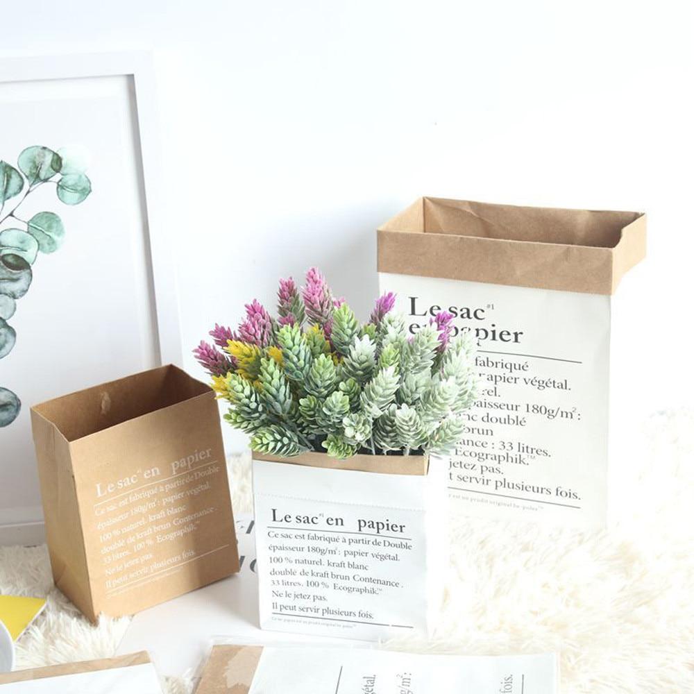 Lindo lavable Kraft bolsas de papel para almacenamiento de juguetes de niños bolsa hogar escritorio planta fruta flor olla bolsa de almacenamiento