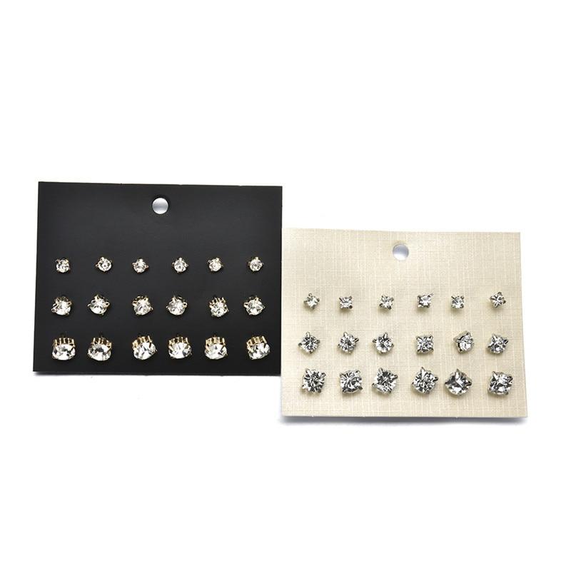 9 Paare/los Mode Weiß AAA CZ Gold/Silber-überzogene Herren Ohrringe Sets Kleine Stud Ohrring Für Frauen Einfache ohr Schmuck
