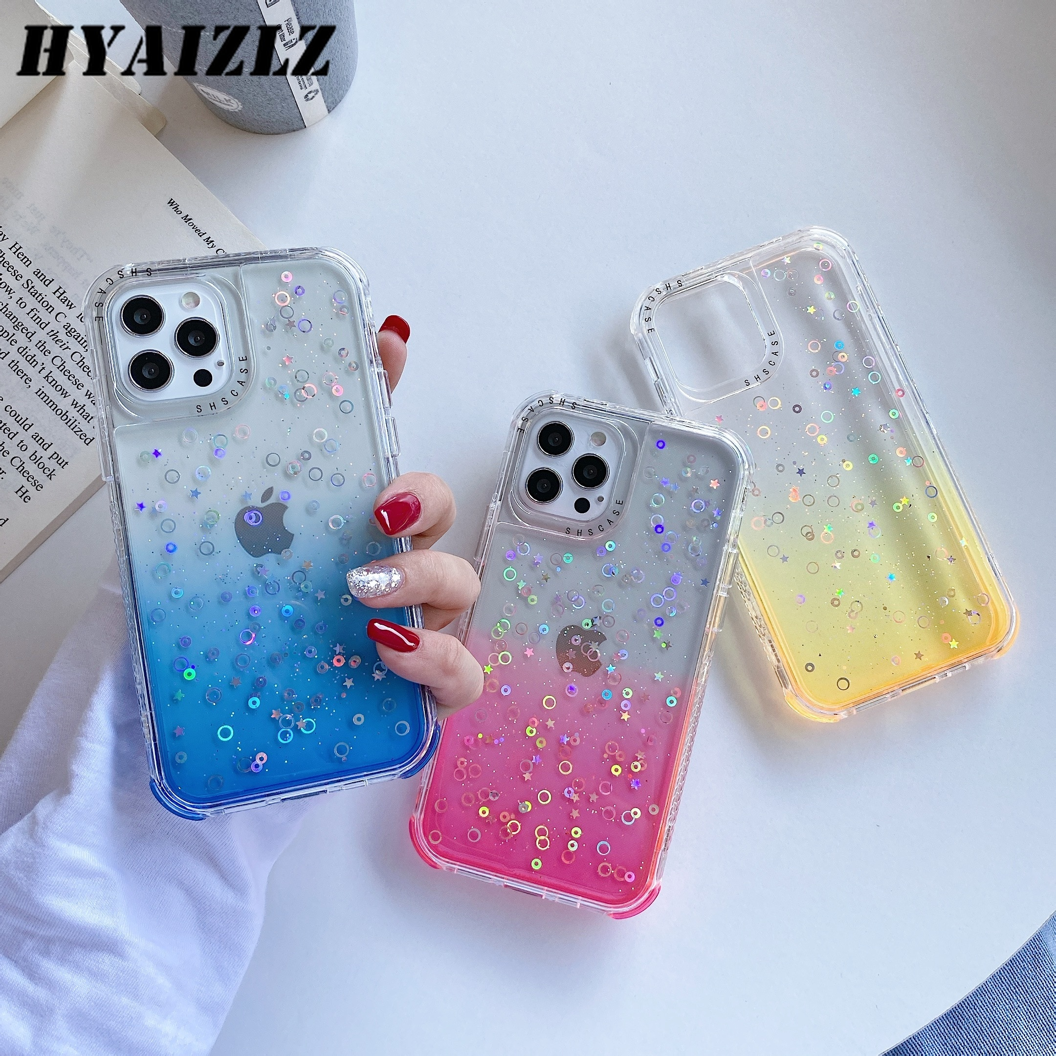 Shockproof Phone Case for iPhone 12 Mini SE 2020 11 Pro Max XR X 6 7 8 Plus Clear Gradient Glitter Bling Back Cover Bumper Funda