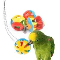 cute parrot toys pet bird parakeet climb bite chew with hanging swing bell ball bird toy pet supplies for parakeet cockati