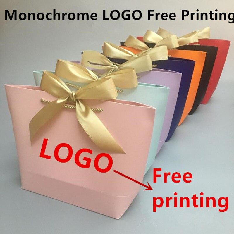 100 pçs/lote logotipo monocromático livre impressão sem dinheiro saco de papel presente saco de compras 10 cor 5 tamanho saco de portador disponível
