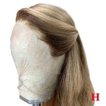 Perruque Lace Front wig lisse brésilienne naturelle Remy   Blond miel cendré, couleur blond miel, 13*6, faux cuir chevelu, pre-plucked