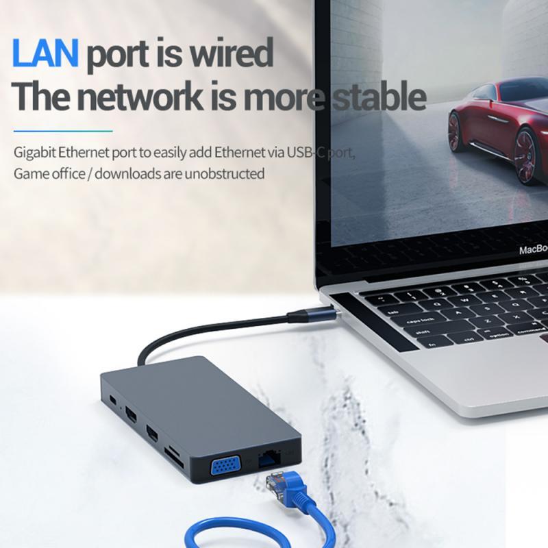 ANew-concentrador de red USB tipo C, 12 en 1, a 4K, HDMI,...