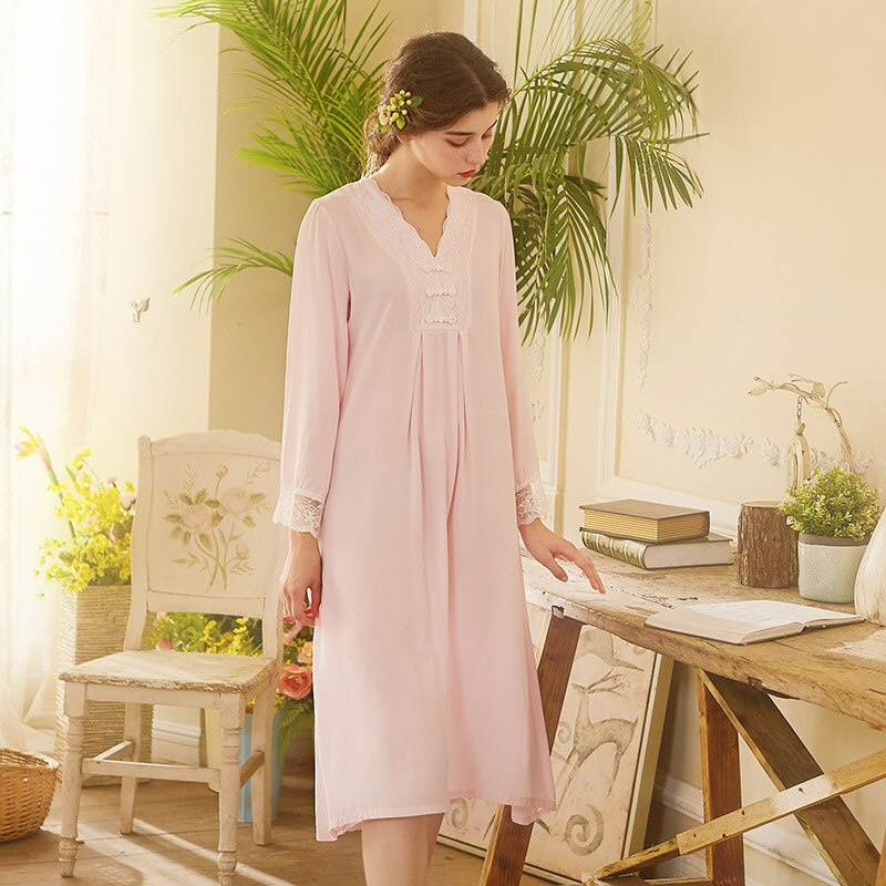 Summer new princess beautiful nightdress Vintage Chinese style palace buckle lace cotton long sleeve temperament dress enlarge