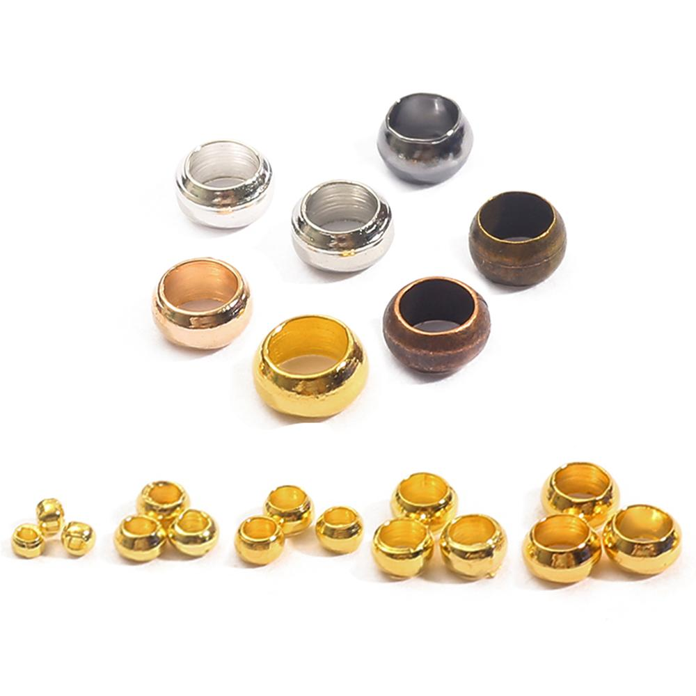 100-500pcs/lot Gold Copper Ball Crimp End Beads 1 2 3 4 mm Stopper Spacer Beads For DIY Jewelry Maki