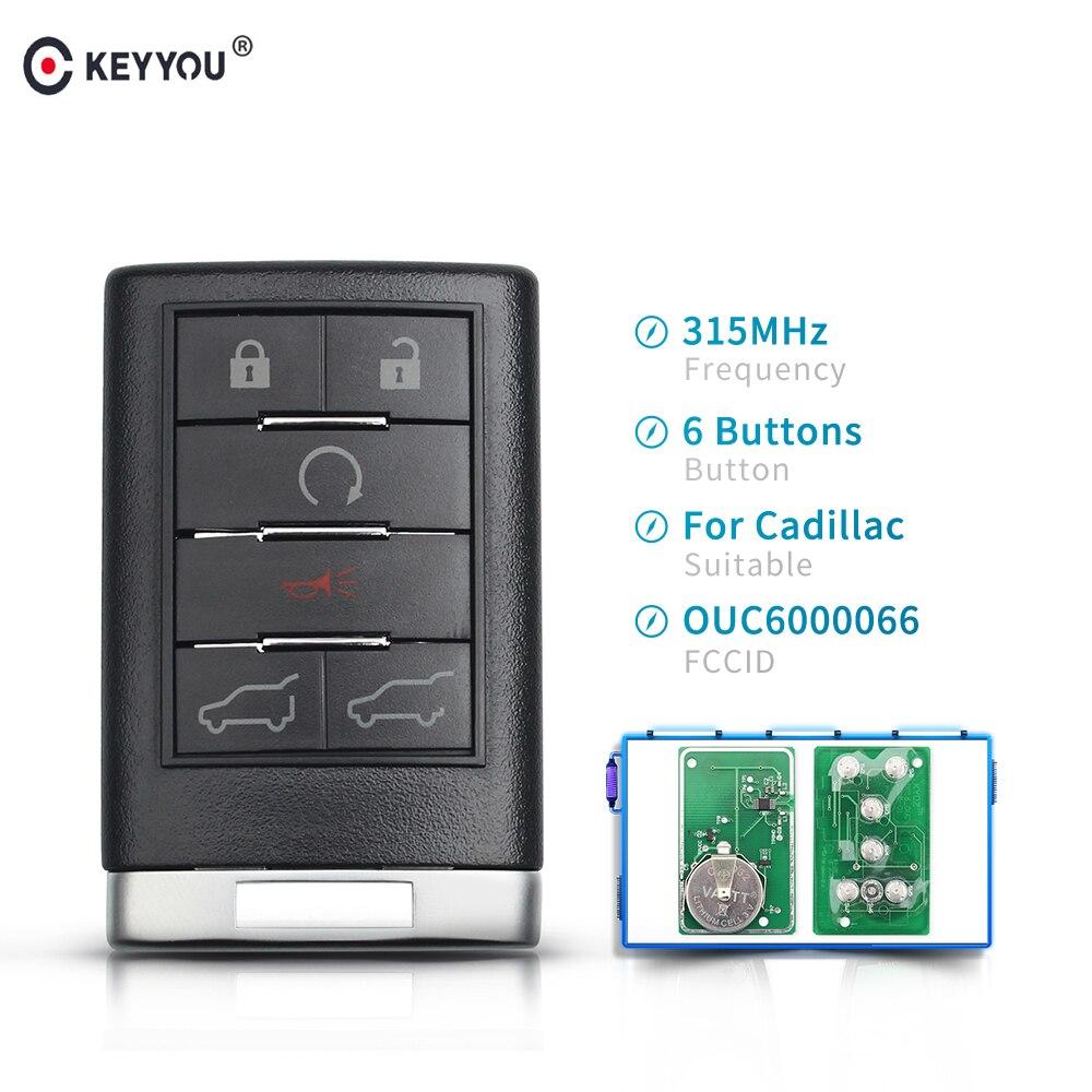 KEYYOU 315MHZ coche llave de mando a distancia inteligente para Cadillac SRX CTS XTS DTS 2010, 2011, 2012, 2013, 2014 Fob insertar hoja clave OUC6000066