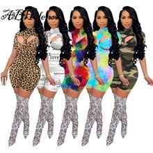 A&BHelenss Fashion Print Tracksuit Turtleneck Short Sleeve Jumpsuit+ Lace Up Bra Matching Set Casual