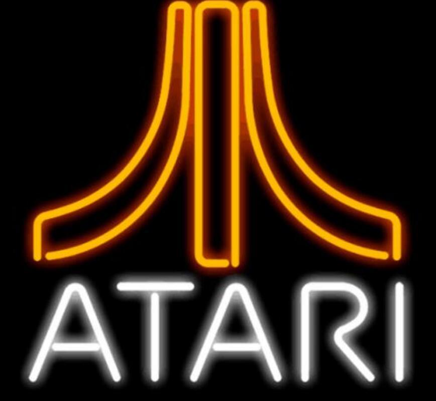 Barra de cerveza con señal de luz de neón de cristal para videojuegos Atari personalizada
