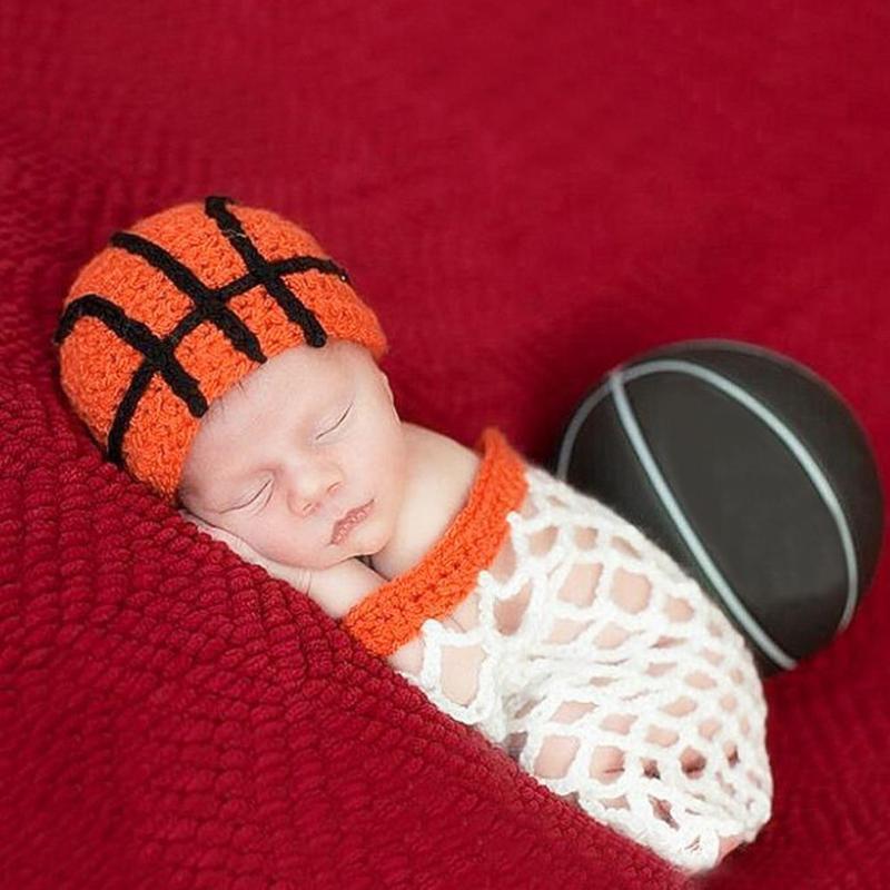 2pcs European Newborn Baby Photography Knitting Clothing Beanie Net Props Basketball style Costume