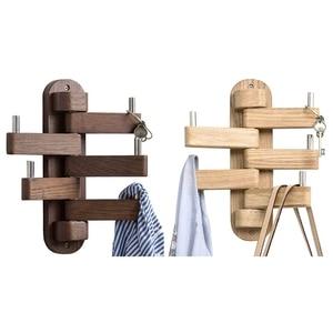 Coat Hooks, Oak Wood Swivel Hooks Wall Mounted Towel Hook with 5 Folding Swing Arms-Foldable Rotating Coat Hanger