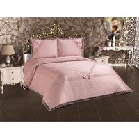 Bedding Cover Set Double Pink Powder Color 3Pcs