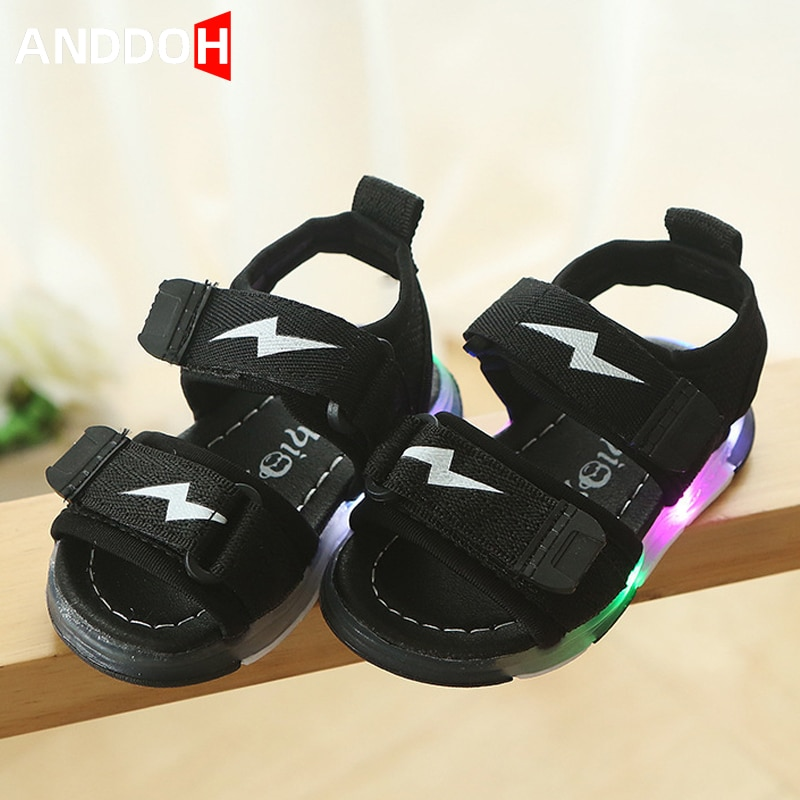 Size 21-30 Children Led Breathable Sandals Boys Lightweight Glowing Shoes Girls Anti-slippery Shoes Baby Luminous Casual Sandals