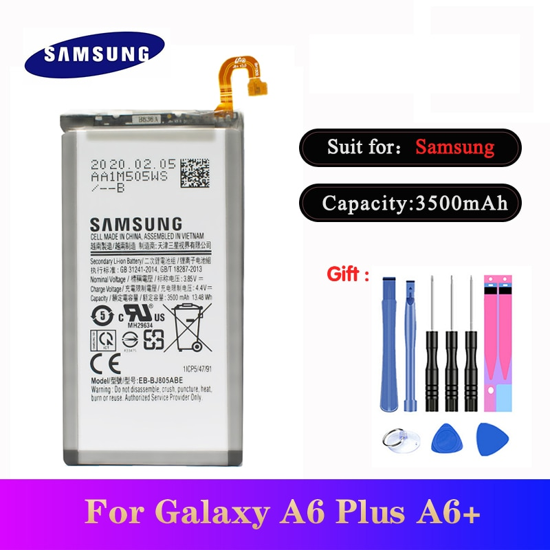 20pcs/lot High Quality Battery EB-BJ805ABE for Samsung Galaxy A6 Plus A6+ SM-A605F A605G A6050 A605K Bateria 3500mAh In Stock