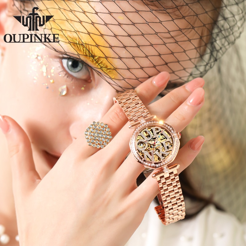 Luxury Brand Automatic Mechanical Watch For Women Stainless Steel Waterproof Ladies Watches Hollow Movement CE EU Certification enlarge