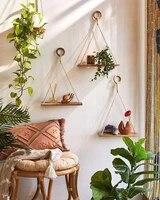 home decoration rack wooden shelving floating shelf plant flower pot premium wood swing hanging rope wall mounted crafts shelves