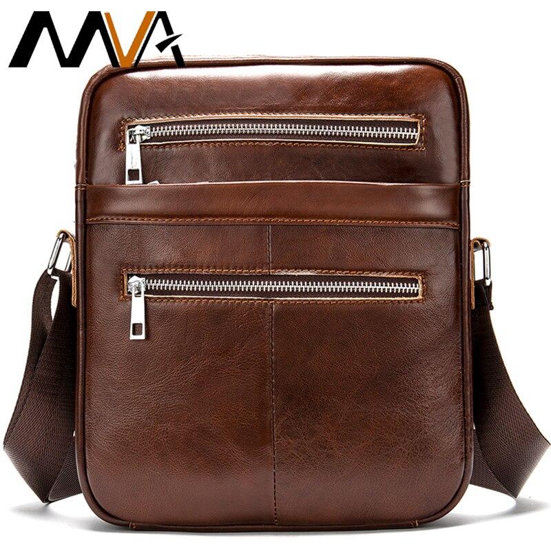 MVA Mens Handbag Shoulder Bag Vintage Business Man Messenger Bag Big Size Genuine Leather Crossbody Bags For Men Stylish Casual