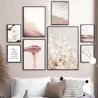 nordic posters and prints beach flowers cotton grass wheat quote wall art canvas painting wall pictures for living room decor