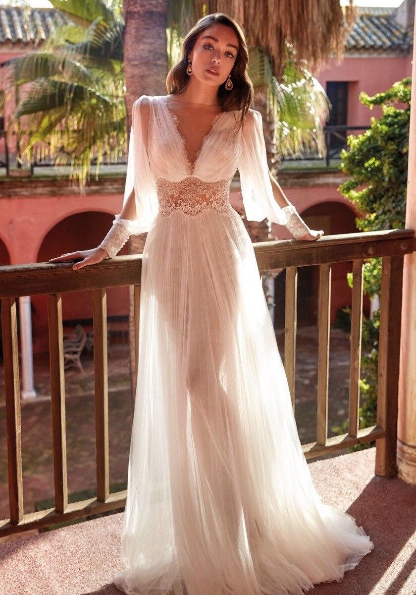 CloverBridal-vestido de novia de manga larga, vestido de fiesta de boda con...