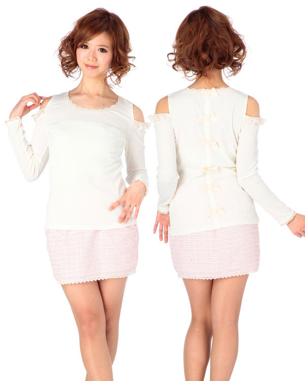 LIZ LISA lazo trasero hombro de encaje cuello redondo camisas de punto